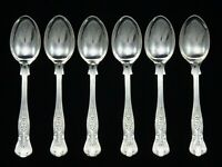"6 HEAVY VINTAGE SILVER PLATED KINGS PATTERN COFFEE SPOONS 4.75"" SHEFFIELD EPNS"