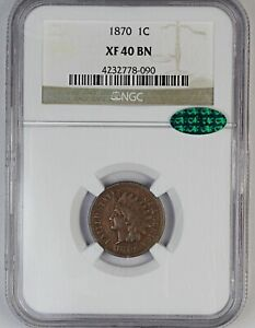1870 NGC XF 40 BN United States Indian Head Cent / Penny - CAC
