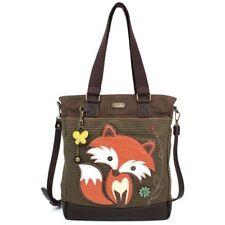 7962f72738 NEW CHALA BROWN STRIPE ORANGE FOX WORK TOTE PURSE BAG FAUX LEATHER CANVAS