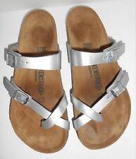 Birkenstock Women's Mayari Silver Birko-Flor Sandals 38 Size 7-7.5