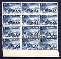 1959 ***MUH*** ANTARCTICA - 8d Blue BLOCK of 12 - EXPEDITION TEAM, MOBILE & MAP