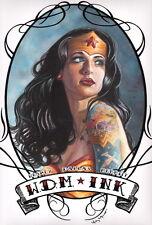 Wesley Dallas Merritt SIGNED Wonder Woman DC Comic Print / Ink Tattoo Art JLA