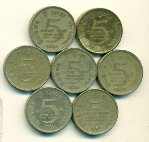 7 - 5 RUPEE COINS from SRI LANKA (1984, 1986, 1991, 1994, 2002, 2004 & 2009)