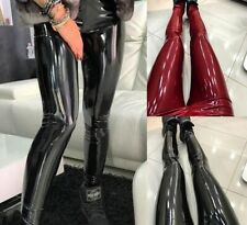 Women Stretchy Shiny Wet Vinyl Leather High Waist Skinny Pants Trousers Leggings