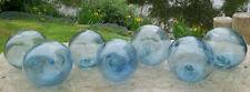 """New listing Japanese Blown Glass Floats 3-3.5"""" Lot-7 Sea Blue Each w/Cobalt Blue Swirls +Net"""