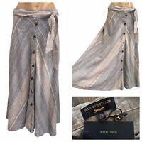 PAUL COSTELLOE Linen Blend Button Front A-Line Skirt Blue Size XS / 8 UK NEW