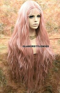 """42"""" HUMAN HAIR BLEND 3 WAYS PART LACE FRONT FULL WIG LONG LIGHT PINK BLONDE MIX"""