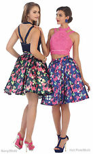 FLORAL PRINT TWO PIECE PROM SEMI FORMAL COCKTAIL SWEET 16 SHORT HOMECOMING DRESS