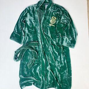 Pottery Barn Teen Harry Potter Slytherin Velvet Green Robe FLAW Needs Repair S/M