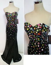 NWT NIGHT MOVES $490 Black Pageant Formal Prom Gown 0