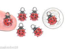 2pc Miniature tiny little Rare Ladybugs fairy Christmas pendant bee bug charms