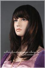 Perücke  wig  et-w014  weiblich Schaufensterpuppe glatt dunkelbraun Kopf Haare