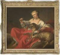 """Hand-painted Old Master-Art Antique Oil Painting girl sheep on canvas 30""""X40"""""""