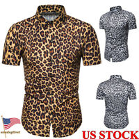 Mens Leopard print Long Sleeve Shirts Casual Slim Fit Cotton T Shirt Tops Blouse