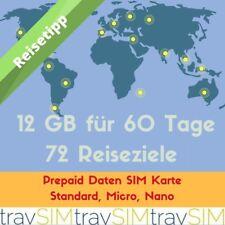 12GB Prepaid Daten SIM Karte 72 Reiseziele 3G 60 Tage