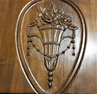 Flower ribbon vase decorative carving panel Antique french architectural salvage