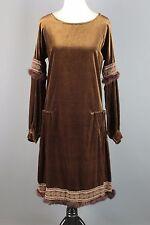 VTG 1920s Women's Fur Trimmed Olive Velvet Drop Waist Dress #1668 20s