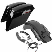Saddlebags Saddle Bag +Rear Fender System Fit For Harley Road King 09-13 12 CVO