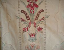 Rare Antique French Egyptian Iris Floral Pharaoh Cotton Fabric #1~ 1810 ~ patina