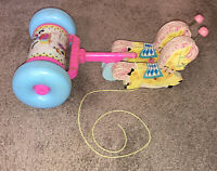 Vtg 1962 Fisher Price Pull Toy Pink Blue Horses Musical Chime Wood Roll USA 60s