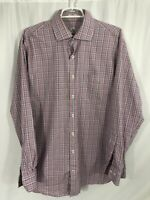 PETER MILLAR Mens Large Blue Pink Plaid Button Down Long Sleeve Shirt