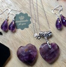 STERLING SILVER FACETED AMETHYST HEART PENDANT, 925 SS CHAIN AND EARRINGS SET