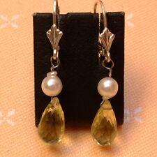 Lemon Quarz & Perlen Creolen - 5 ct. -  Sterling Silber - 925 - Briolett Schliff