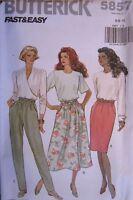 Vintage Butterick SEWING Pattern 5857 Misses Skirt Pants 6-22 UNCUT OOP SEW FF