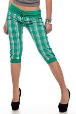 Sexy Miss Ladies Checked Capri Knickers Bermuda Shorts Girly Pump Pants Green