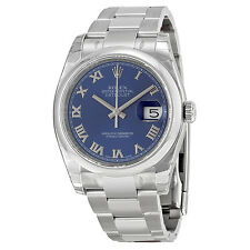 Rolex Datejust Blue Roman Dial Oyster Bracelet Mens Watch 116200BLRO