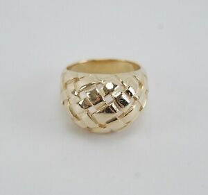 James Avery 14K Yellow Gold DOME BASKET WEAVE Ring - Size 7.25 - Retired