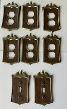 Lot of 8 vintage Metal / Aluminum Ornate Light Switch Plate Plug Outlet Covers