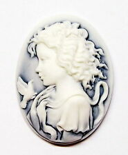 4 of 40x30 mm White over Blue Victorian Young Wavy Hair Woman with Bird Cameos