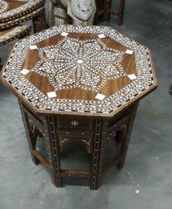 Handmade Indian Inlaid Octagonal Table Stunning Inlay Work