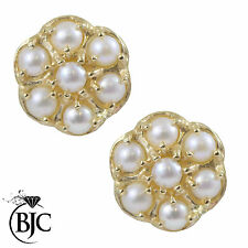 BJC® 9ct Yellow Gold Freshwater Pearl Daisy Cluster Earrings 1.12ct ER19