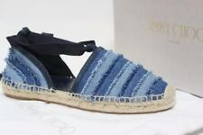JIMMY CHOO DOLPHIN ESPADRILLE DENIM JEAN FLAT  SHOES 37 / 6.5 $$475