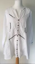 Joe Browns Ladies Blouse Shirt Collarless White 18 Cotton Embroidered Cow Girl