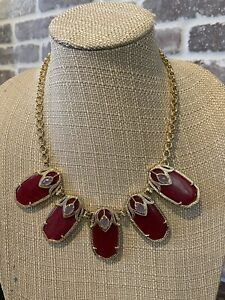 Kendra Scott Rare Vintage Red Jade And Lilac Dori Necklace In Gold