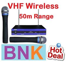 NEW BNK PROFESSIONAL DUAL VHF WIRELESS MICROPHONE 50M RANGE 2 MICROPHONES
