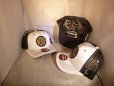 BOSTON BRUINS NHL WHITE BLACK MESH BACK LOW PROFILE ADJUSTABLE SNAPBACK HAT CAP