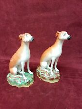 Pair  Old Staffordshire  Ware English Pottery Dogs