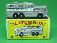 Matchbox Lesney No.66c GMC Greyound Bus (RARE CLEAR WINDOWS)