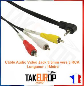 CABLE ADAPTATEUR CONNECTEUR JACK 3.5 VERS 3 RCA MALE AUDIO STERIO VIDEO AV