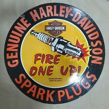 HARLEY DAVIDSON SPARK PLUGS 2 SIDED VINTAGE PORCELAIN SIGN 30 INCHES ROUND