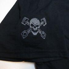 NEW ROCKABILLY Embroidered Skull Crossbones Pistons Car Hot Rod Racing T SHIRT