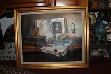 Still Life Oil Painting Canvas-Signed Hamvai-Istvan-Books Candle Glasses-Superb