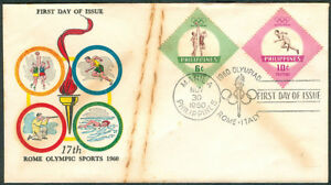 Philippines 17th ROME OLYMPIC SPORTS 1960 First Day Cover