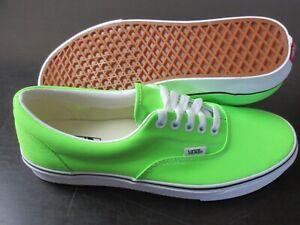 Vans Men's Era Neon Green Gecko True White Canvas Skate Casual shoes Size 10 NWT