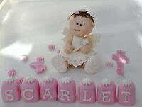 HANDMADE EDIBLE PRINCESS BABY GIRL FAIRY CHRISTENING  CAKE TOPPER  DECORATION