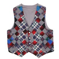 Handmade Mens Patchwork Tweed Vest Waistcoat 46 Gray Red Blue Flannel Plaid Wool